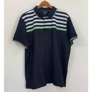 Club Room Black Short Sleeve Striped Polo Shirt